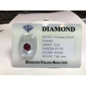 Cut RUBY carat 3.12 red blister LOTTO 3.00