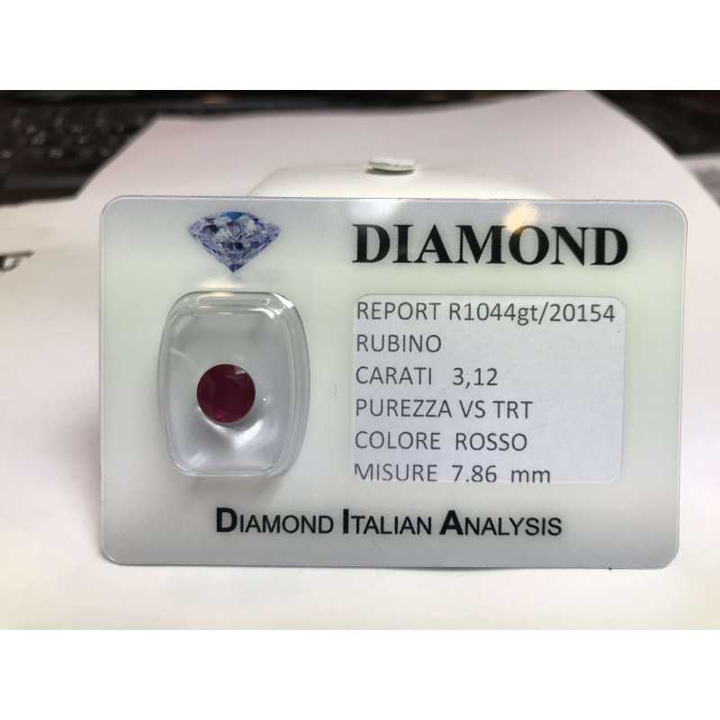 Couper RUBY, carat 3.12 rouge blister de LOTO 3.00