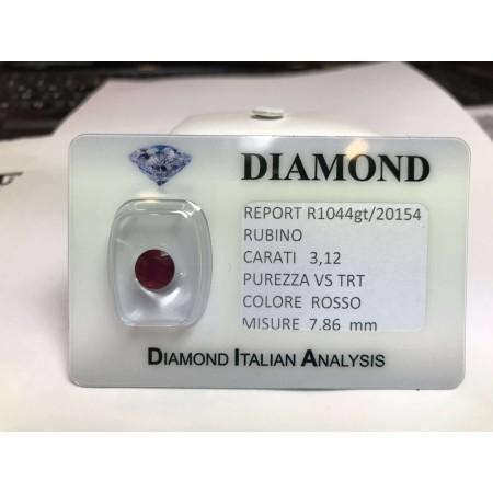 RUBINO taglio carati 3.12 rosso acceso in blister LOTTO 3.00