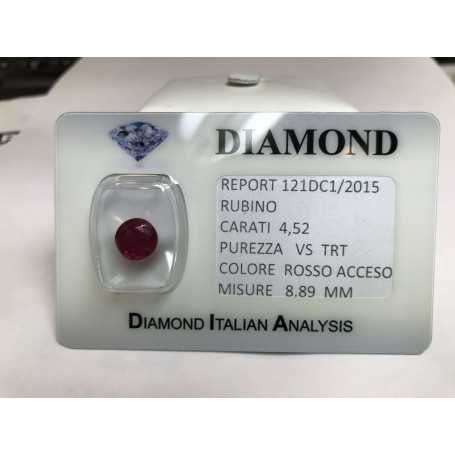 Cut RUBY carat 4.52 red in blister LOT 5.00
