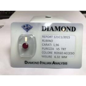 Couper RUBY carats de 1,96 rouge blister LOT de 2,00