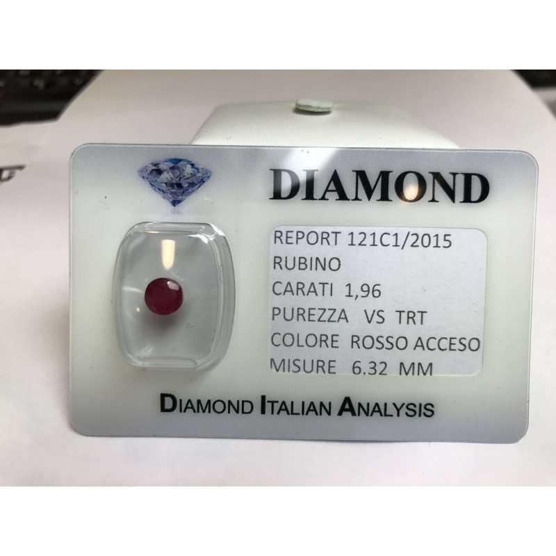 RUBINO taglio carati 1.96 rosso acceso in blister LOTTO 2.00