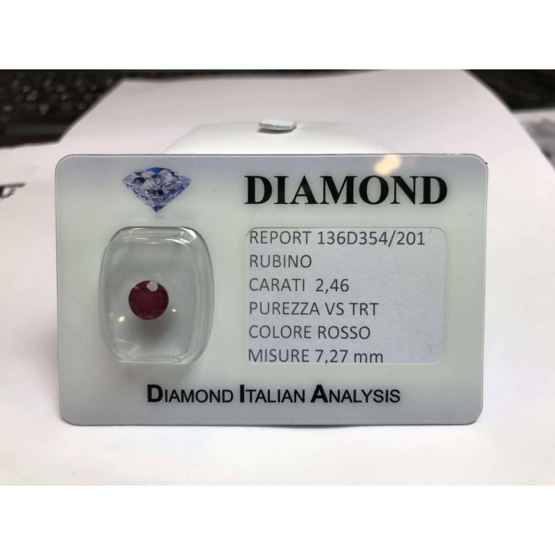 RUBINO taglio carati 2.46 rosso acceso in blister LOTTO 3.00