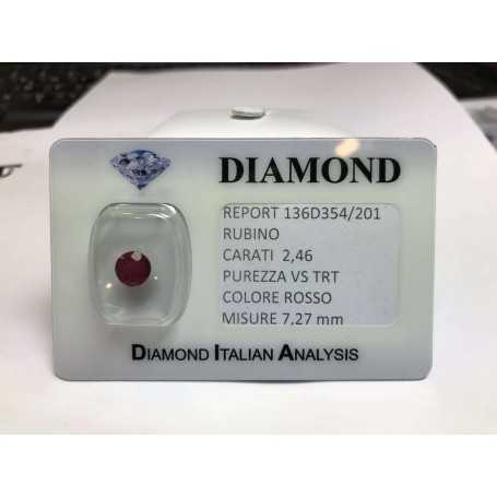 Cut RUBY carats 2.46 bright red in blister LOT 3.00