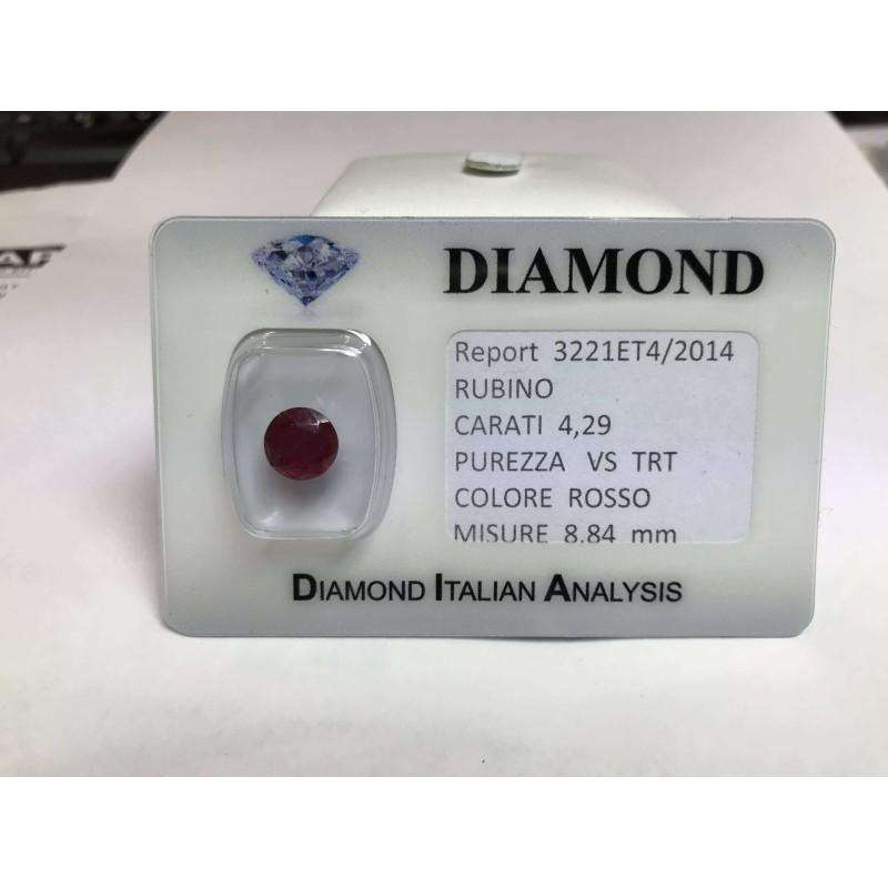 RUBINO taglio carati 4.29 rosso acceso in blister LOTTO 5.00