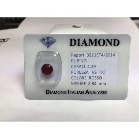 Ruby cut carat 4.29 bright red in blister lot 5.00