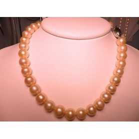 NECKLACE BEADS PINK SALMON 350 CARATS, MOUNTED IN RHODIUM-PLATED SILVER GOLD