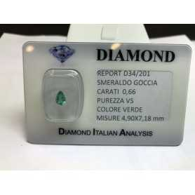 EMERALD COLOMBIA DROP CERTIFIED 0.66 CARAT BLISTER LOT 1.00 1.50