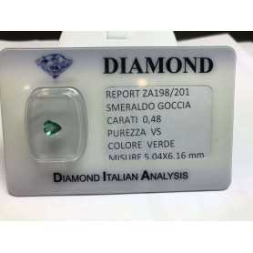 EMERALD COLOMBIA DROP CERTIFIED 0.48 CARAT BLISTER LOT 1.00 1.50