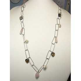 COLLIER quartz perles en ARGENT sterling 925 RHODIÉ OR 35 GRAMMES de LONG 140 CM PIERRE