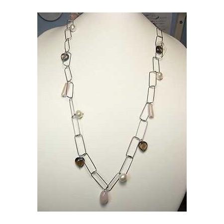 COLLIER quartz perles en ARGENT sterling 925 RHODIÉ OR 35 GRAMMES de LONG 140 CM PIERRE