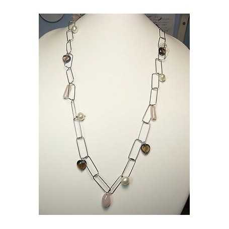 NECKLACE quartz pearls sterling SILVER 925 RHODIUM-plated GOLD 35 GRAMS LONG 140 CM STONE