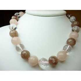 NECKLACE ROSE QUARTZ PHIRITE THE STONE OF THE SUN CLOSING SILVER THE LAST 50 % 550 CAR