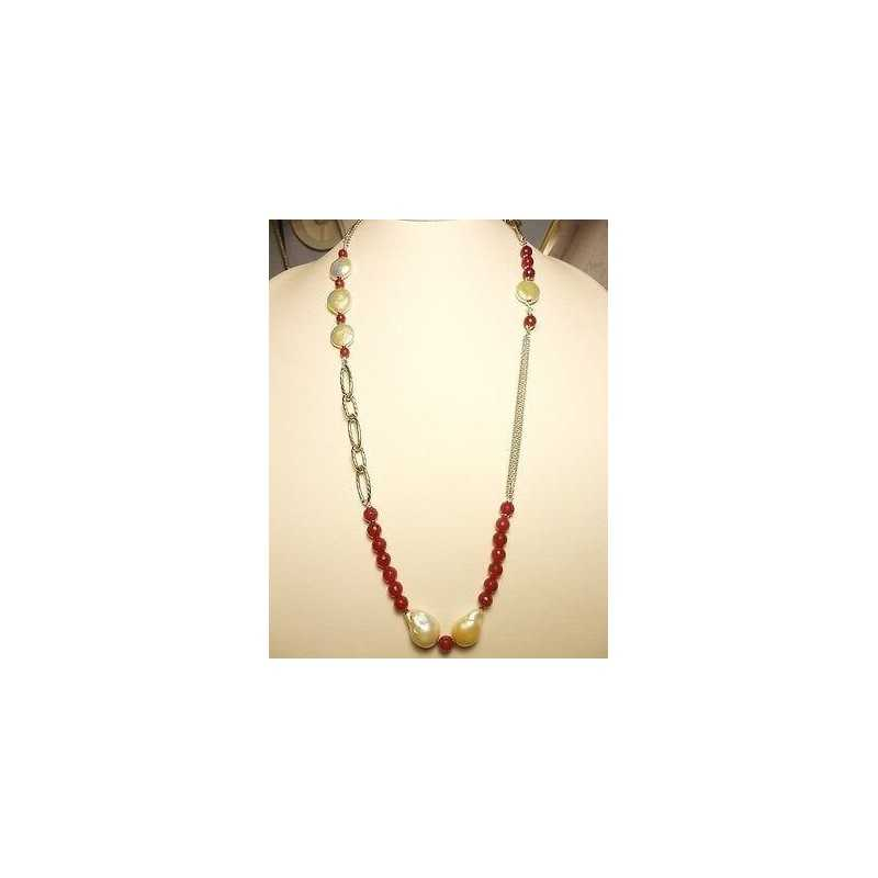 NECKLACE RUBY SILVER RHODIUM-PLATED WHITE GOLD EMERALD PEARLS SCARAMAZZE LONG 70 CM