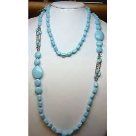 NECKLACE TURQUOISE 140 CM LONG 60% DISCOUNT 800-CARAT SILVER