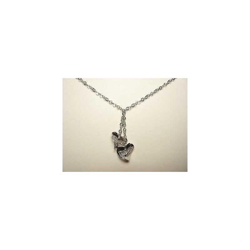 NECKLACE HEARTS SILVER RHODIUM plated for St. VALENTINE's day, CHRISTMAS, and EASTER