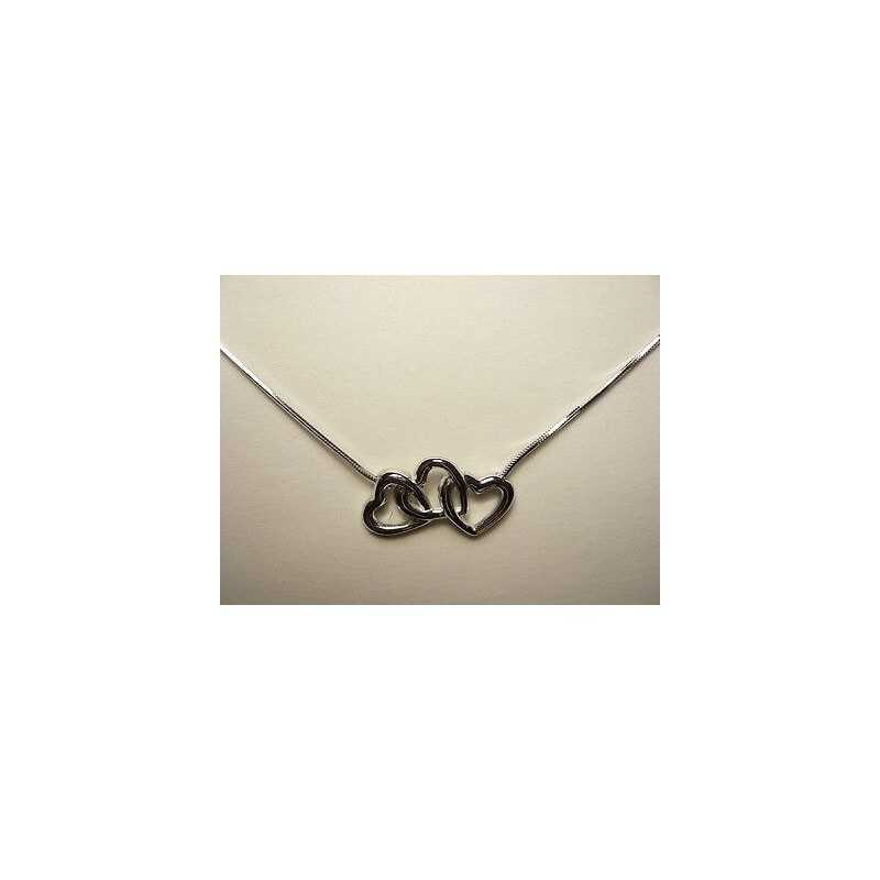 NECKLACE with HEARTS in sterling SILVER RHODIUM-plated WHITE GOLD