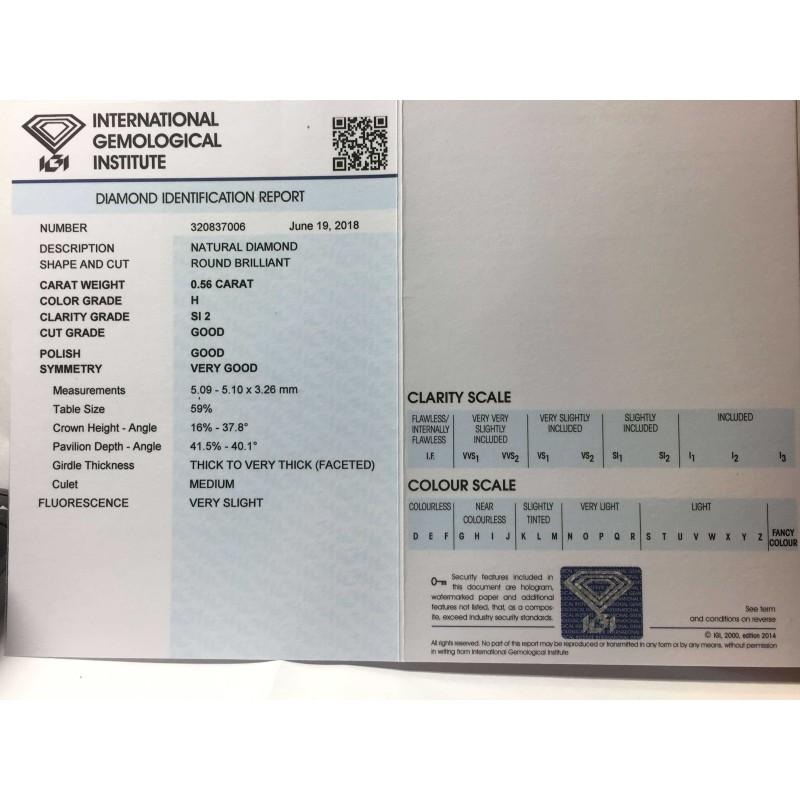 Diamant certifié igi 0,56 h 2 blister lot de 0,75 0.401.00