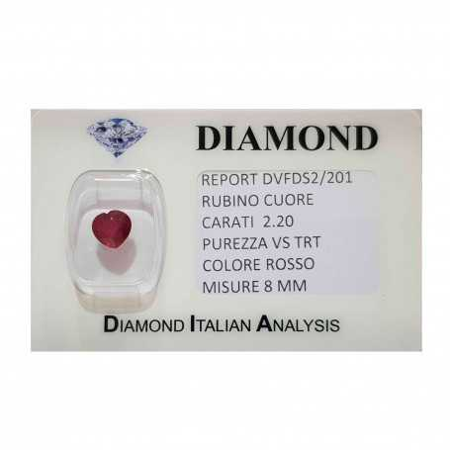Ruby Heart cut 2.20 carats in certified BLISTER