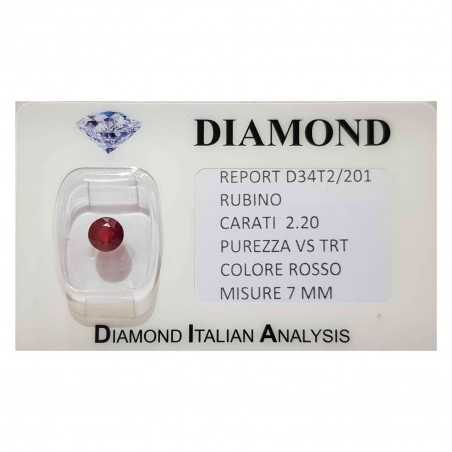 Ruby round cut 2.20 carats in certified BLISTER