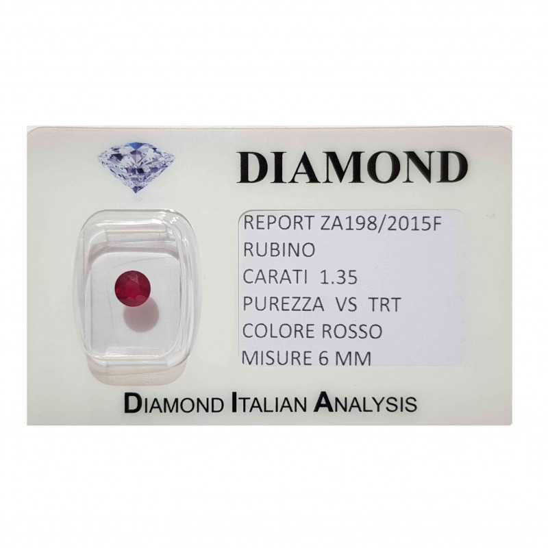 RUBY ROUND CUT 1.35 CARAT in BLISTER CERTIFICATE