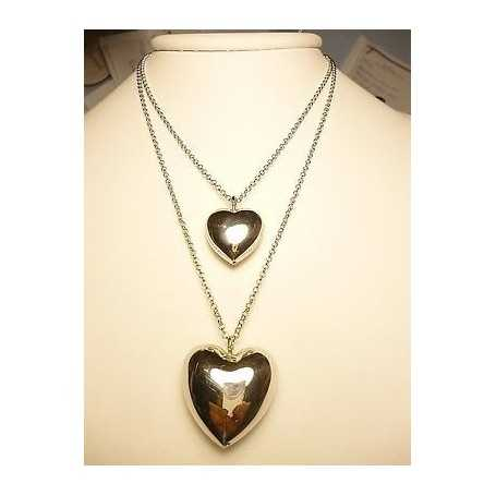 COLLIER HEARTS ITALIAN DESIGNER SILVER RHODIUM-plated GOLD VALENTINE's day CHRISTMAS EASTER