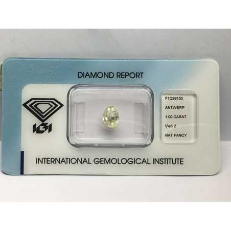 DIAMOND OVAL CERTIFIED IGI 1.00 Nat Fancy VVS2 BLISTER - REPORT F1Q99150