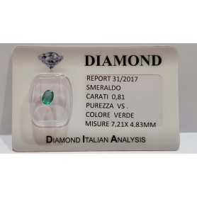 SMERALDO OVALE CERTIFICATO 0.81ct 7.21x4.83mm in BLISTER