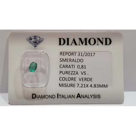 Certified oval emerald 0.81 ct 7. 21x4. 83mm in BLISTER