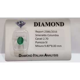 SMERALDO OVALE CERTIFICATO 2.70ct 9.80x8.00mm in BLISTER