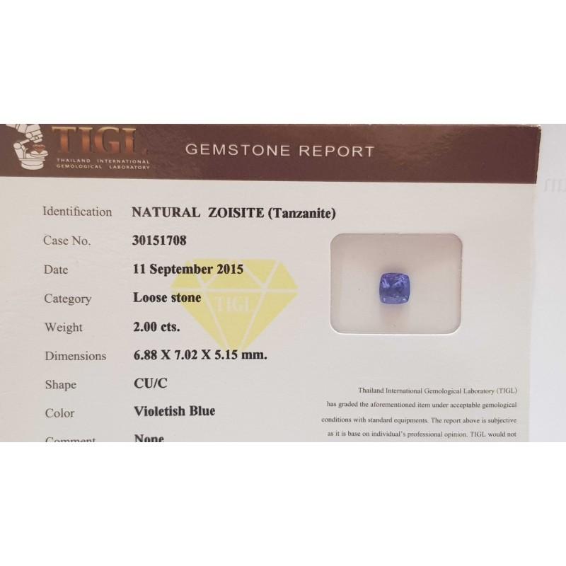 NATURAL TANZANITE PRINCESS CERTIFIED TIGL 2.00 CT BLISTER - REPORT 30151708