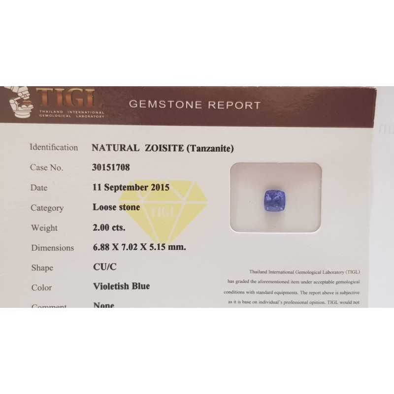 TANZANITE NATURALE PRINCESS CERTIFICATA TIGL 2.00 CT in BLISTER - REPORT 30151708