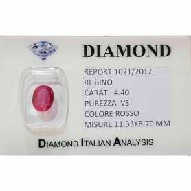 RUBY OVAL CUT 4.40 CARAT in BLISTER CERTIFICATE