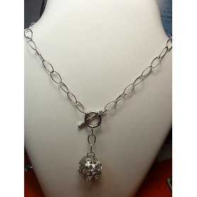 NECKLACE FILIGREE SILVER RHODIUM-PLATED GOLD, 17.50 GRAMS