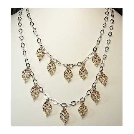 NECKLACE FILIGREE SILVER RHODIUM-PLATED GOLD, 18.40 GRAMS