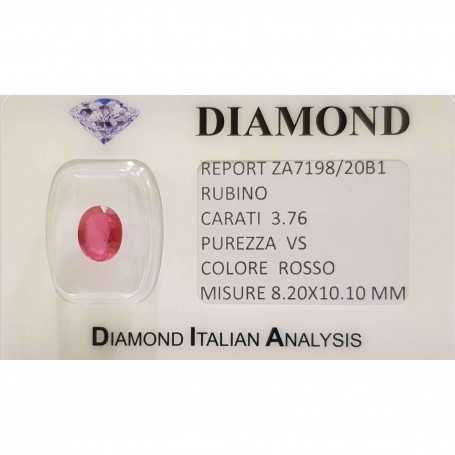 Ruby oval cut 3.76 carats in certified BLISTER