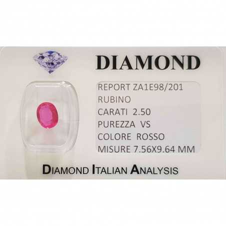 Ruby oval cut 2.50 carats in certified BLISTER