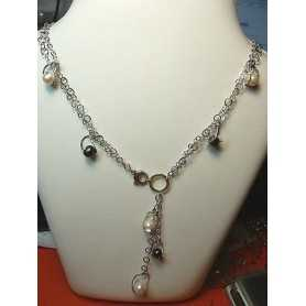 NECKLACE FILIGREE SILVER RHODIUM-PLATED GOLD 19.70 GRAMS