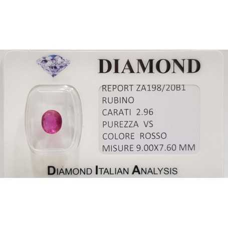 Ruby oval cut 2.96 carats in certified BLISTER