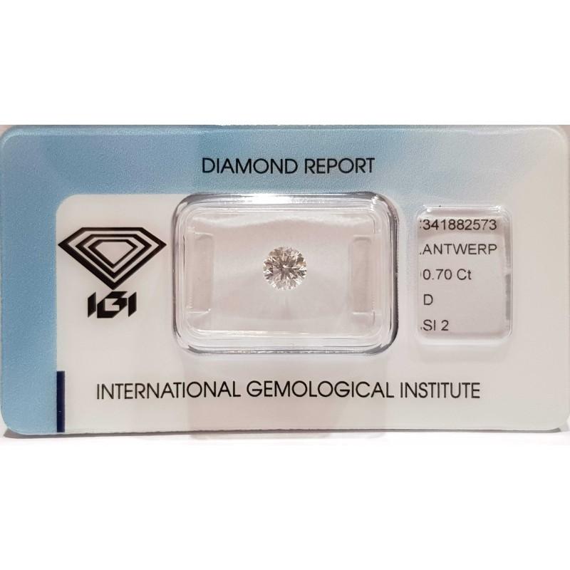 DIAMOND ROUND CERTIFIED IGI 0.70 ct D SI2 BLISTER - REPORT 341882573