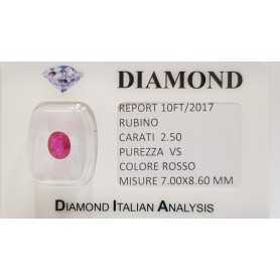 RUBINO TAGLIO OVALE 2.50 CARATI in BLISTER CERTIFICATO - 10FT