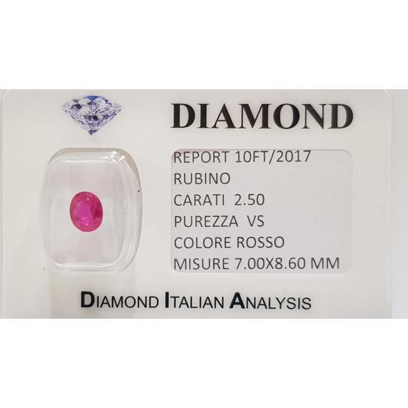 RUBY OVAL CUT 2.50 CARAT in BLISTER CERTIFICATE - 10FT