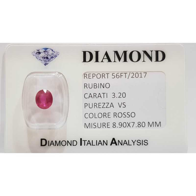 OVAL CUT RUBY 3.20 CT BLISTER CERTIFICATE