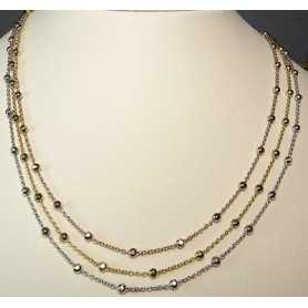 NECKLACE FILIGREE SILVER RHODIUM PLATED THREE GOLD PINK YELLOW WHITE 13.10 GRAMS