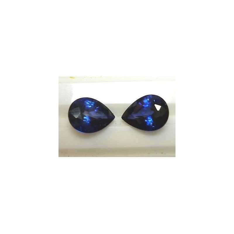 PAIR OF NATURAL SAPPHIRES DROP-CUT 5,78 CT LOT 2.0 3.0 4.0 5.0