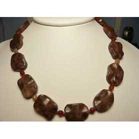 CARNELIAN ROUGH NECKLACE 500 CARATS AAA+ 52 CM EXTRA-COLOR AAA++