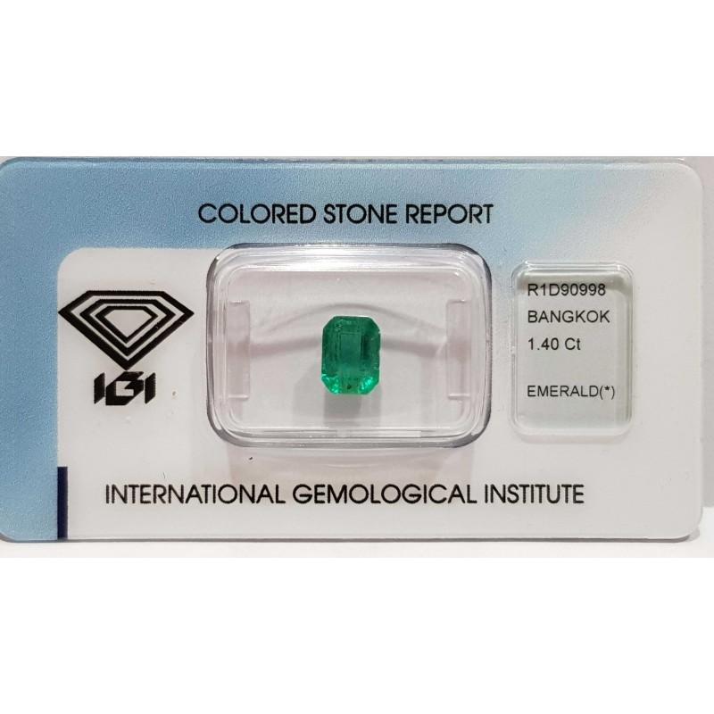 SMERALDO 1.40ct in BLISTER CERTIFICATO IGI - R1D90998