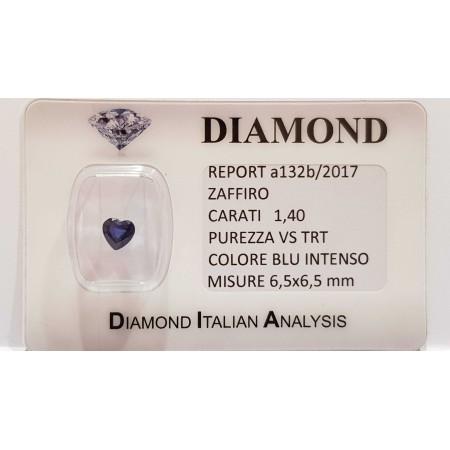 Blue sapphire heart cut 1.40 carats in certified BLISTER