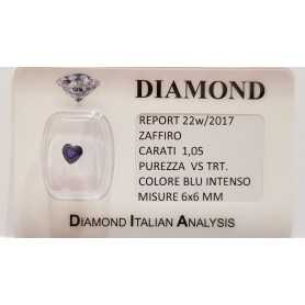 BLUE SAPPHIRE CUT HEART OF 1.05 CARAT in BLISTER CERTIFICATE