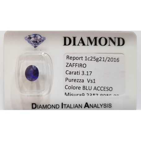 SAPPHIRE OVAL 3.17 cts BLISTER CERTIFICATE